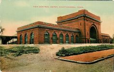 Chattanooga TN~New Central Railroad Depot Across the Way~c1910 Postcard