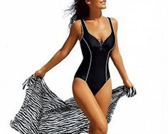 Delimira Women's Plus Size Built-in Cup One Piece Deep-V Swimsuit Bathing Suits Black US 14 One piece style V neckline with button detailing Bra cups attached for extra support Scoop back line create a sexy silhouette Lightweight and quick-drying fabric Women's One Piece Swimsuits, Plus Size Swimsuits, Women Swimsuits, Fashion Swimsuits, Bikini Floral, Sexy Bikini, Bikinis, One Piece For Women, Black Swimsuit