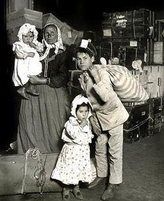 Italian family arrive at Ellis Island 1905