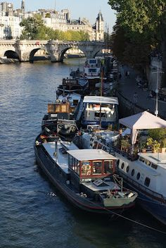 I use to live on one like the white one! But up the Seine more closer to the Eiffel Tower! Lucky me!!