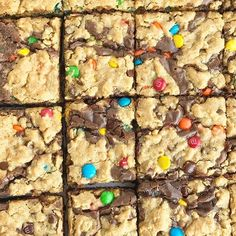 Monster Cookie Brownies start with a boxed brownie mix and then topped with a homemade monster cookie dough. Brownies + monster cookies in one dessert. Cookie Brownies, Homemade Brownies, Brownie Bar, Chocolate Brownies, Chocolate Chips, Dessert Bars, Dessert Recipes, Desserts, Cake Batter Cookies