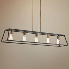 "Hinkley Fulton 50"" Wide Bronze Island Pendant Light - $449 lamps plus, 5 x 60W"