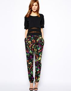 Warehouse Tropical Fluro Print Trouser