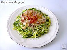 Zucchini Spaghetti Carbonara / Spaghetti de Calabacín a la Carbonara _ Recetines Asgaya