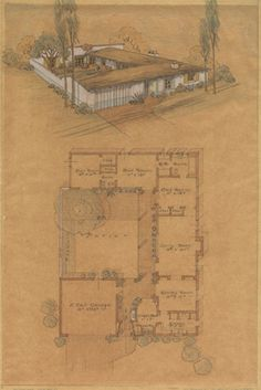 Speculative House (San Diego, California): Perspective and Plan (1932)  Cliff May      Graphite and colored pencil on trace 16.5 x 11 in  Cliff May Collection, Architecture and Design Collection, University Art Museum, University of California, Santa