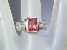 Radiant Pink Tourmaline Solitaire Ring Sterling Silver & 18kt Yellow Gold by Gemsbygigialonia on Etsy