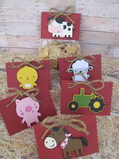 On The Farm Favor Bag Toppers Set of # birthday cricut Farm Animal Party, Farm Animal Birthday, Farm Birthday, First Birthday Parties, Birthday Party Decorations, First Birthdays, Farm Themed Party, Barnyard Party, Farm Party Favors