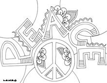 Encouraging word coloring pages - Peace