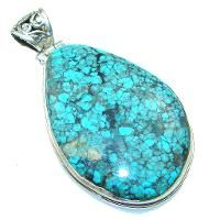 Mountain Blue with Extra Fine Spiderweb Turquoise Sterling Silver Pendant