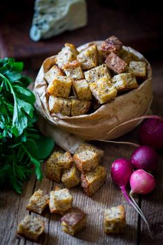 Making home-made croutons is so easy and healthy. All you need is whole-grain bread, a little oil and seasoning! HealthySeasonalRecipes.com