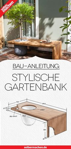 Designer-Gartenbank bauen: Kostenlose DIY-Anleitung - Pflanzen ideen Build a designer garden bench: Free DIY instructions This self-made tree bench impresses not only with modern elegance in the garde Outdoor Furniture Design, Garden Furniture, Diy Furniture, Modern Furniture, Barbie Furniture, Furniture Projects, Furniture Makeover, Balcony Furniture, Indoor Garden