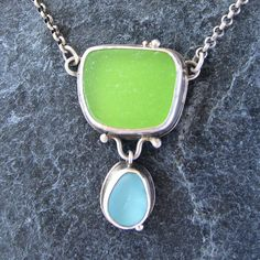Sea Glass Jewelry Necklace Lime Green and Aqua Beach Glass Jewelry Necklace on Etsy, $165.00