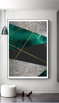 Modern Abstract Geometry Emerald Gold Line wall art printable image 1