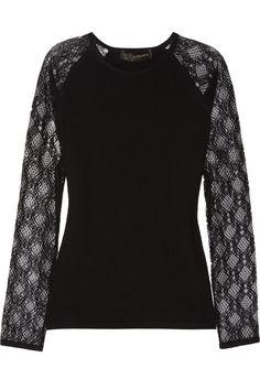 Versace Lace-sleeved wool-blend top NET-A-PORTER.COM
