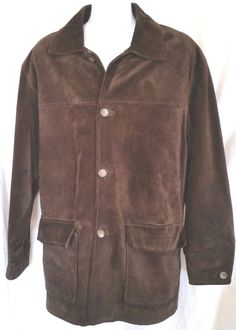 AM Studio by Andrew Marc Chocolate Brown Designer Leather Suede Jacket Size XL & #AMStudio #BasicJacket