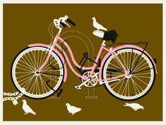Pink bike print by Methane Studios