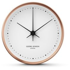 Georg Jensen Henning Koppel Clock - Copper/White - 22cm ($382) ❤ liked on Polyvore featuring home, home decor, clocks, metallic, georg jensen, white home accessories, white home decor, dial clocks and white clock