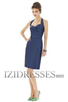 Sheath/Column Halter  Sweetheart Satin Bridesmaids Dress
