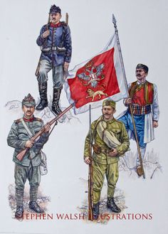 Items similar to Romanian and Montenegrin Armies - Armies of the Balkan Wars 1912 - 1913 - Osprey Artwork on Etsy Ww1 Soldiers, Wwi, World War One, First World, Les Balkans, Osprey Publishing, World Conflicts, Military Insignia, Montenegro