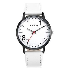 Fashion Leather Strap Men Quartz Wrist Watch For CoupleWhite *** To view further for this item, visit the image link.Note:It is affiliate link to Amazon.