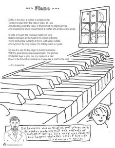 Piano by D.H. Lawrence Coloring Page Poem