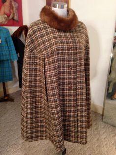 Vintage PENDELTON Tweed Plaid 100% Wool CAPE Cloak by OldohioVintage on Etsy