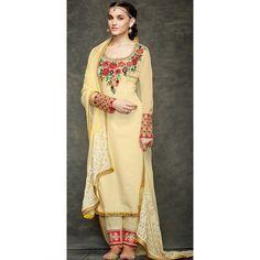 Pale Yellow Floral #Straight Cut Suit. http://www.lashkaraa.com/blog/latest-straight-cut-salwar-kameez-suits/