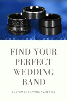 Black tungsten wedding bands that you'll love. Custom engravings available. Black Tungsten Rings, Tungsten Wedding Rings, Perfect Wedding, Dream Wedding, Wedding Stuff, Wedding Ideas, Custom Engraving, Wedding Bands, Wedding Planning