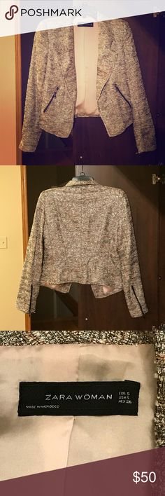 Zara Woman blazer Beautiful and multicolored (gray, pale pink, and white) blazer. Perfect for holiday parties  Gently used and in like new condition. Bundle for greater savings! Zara Jackets & Coats Blazers
