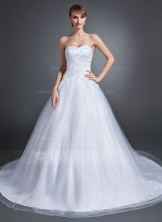 Wedding Dresses - $186.99 - Ball-Gown Sweetheart Chapel Train Tulle Wedding Dress With Lace Beading (002015154) http://jjshouse.com/Ball-Gown-Sweetheart-Chapel-Train-Tulle-Wedding-Dress-With-Lace-Beading-002015154-g15154
