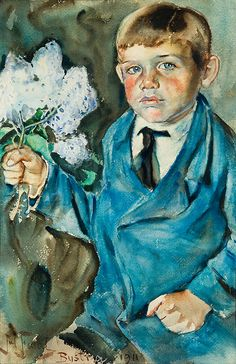 "Julian Falat  ""Boy with an Elderberry Branch"", Bystra 1911, watercolour on paper, 54 x 36.5 cm, private collection"