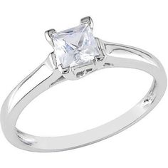 Miabella 3/5 Carat T.W. Square-Cut Created White Sapphire 10kt White Gold Solitaire Engagement Ring, Size: 8.5