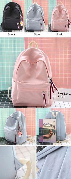 Donet Girls Versatile Leather Backpack Fashion Waterproof Solid Rucksack Schoolbag