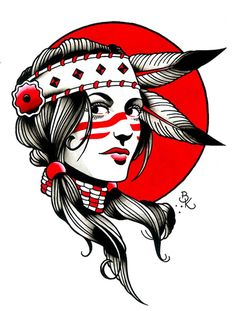 A beautiful portrait of a Native American woman. Title: Indian Girl Artist: Brian Kelly Made-to-order giclee fine art reproductions on canvas featuring the original artwork of today's hottest tattoo a Native American Tattoos, Native American Girls, Native American Drawing, Edinburgh Tattoo, American Traditional Rose, Tattoo Wallpaper, Berg Tattoo, Asian Tattoos, Indian Girl Tattoos