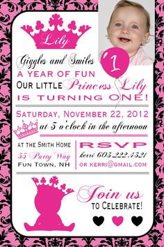 Princess Birthday Party Invitation by AsYouWishCreations4u on Etsy