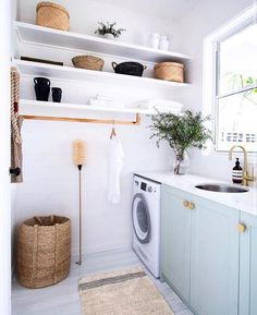 Laundry storage doesn't have to be fussy. We're loving this open shelving and handy hanging rail. An organised laundry is one with flexible storage options. Renovation Plan, Architecture Renovation, Küchen Design, Home Design, Interior Design, Interior Colors, Interior Plants, Utility Room Designs, Utility Room Ideas