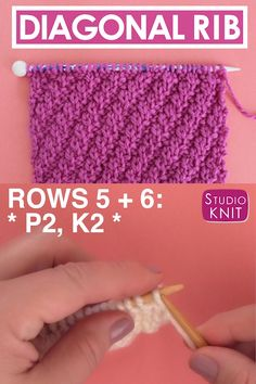 Rib Stitch Knitting Pattern The Diagonal Rib Stitch Pattern is a great way to create the depth of ribbing while allowing your piece to easily lie flat. This Repeat Knit Stitch Pattern would be perfect to knit up a pillow or an elegant scarf. Beginner Knitting Patterns, Knitting Basics, Simply Knitting, Knitting Videos, Knitting For Beginners, Free Knitting, Rib Stitch Knitting, Knitting Stiches, Knit Stitches