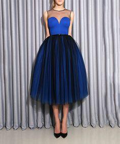 Another great find on #zulily! Blue & Black Mesh-Overlay Sleeveless Dress #zulilyfinds
