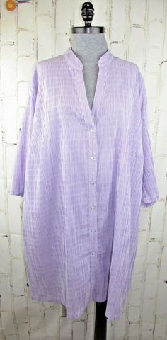288db91884a41 Details about Ulla Popken womens 3X 24 26 Tunic Shirt Lavender Purple  Seersucker Top