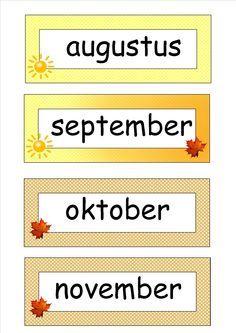 Maanden met aangeduide seizoenen, gemaakt door Els Van Aelbrouck Primary School Jobs, School Info, School Teacher, Pre School, Preschool Prep, Classroom Organisation, School Items, School Posters, Montessori Materials