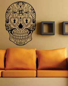 Sugar Skull Version 6 Wall Vinyl Decal Sticker Art by DabbleDown, $17.00