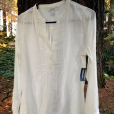 NWT Creme sheer blouse size Small New with tag sheer Creme blouse, soft, perfect condition, only selling as I have enough Creme and white blouses. Old Navy Tops Blouses
