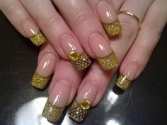 Lace Tip Nail Designs | Gold with lace acrylic nail design
