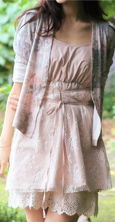 Pretty lace dress with pastel floral cardigan: pretty for Easter