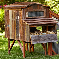 Reclaimed Rustic Coop & Run Not a good link but I like the idea of using reclaimed wood