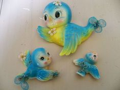 Vintage kitsch blue birds wall decor set mom by AnitaSperoDesign, $25.00