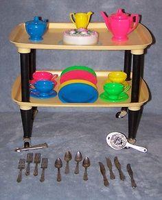 Vintage RedBox 1960's ChildrensTea Set, Dishes & Silverware, Plastic w/ Trays | eBay