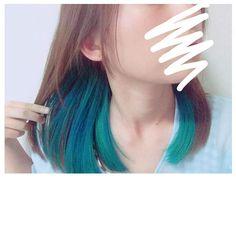 WEBSTA @ nzm_disney_ - .青色ちゃんと入ったまあわかってたことやけど茶髪に青は合わない。.#マニパニ #インナーカラー #青髪…