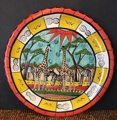 "Penzo Zimbabwe Africa Zebras Giraffes Decorative Handpainted PLATE 9+""    eBay"