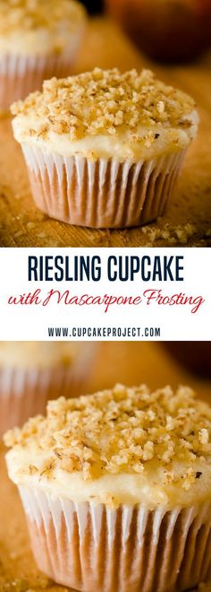 Looking for some fun cupcake recipes? This Riesling cupcake is finished with a pear mascarpone frosting and heavily dusted with finely chopped walnuts, creating a wine and cheese plate experience. More easy and from scratch baking recipes from #CupcakePro